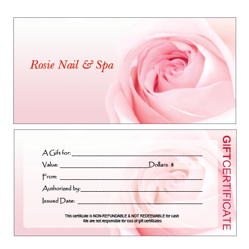 Hair nail spa printing for Salon gift certificates templates