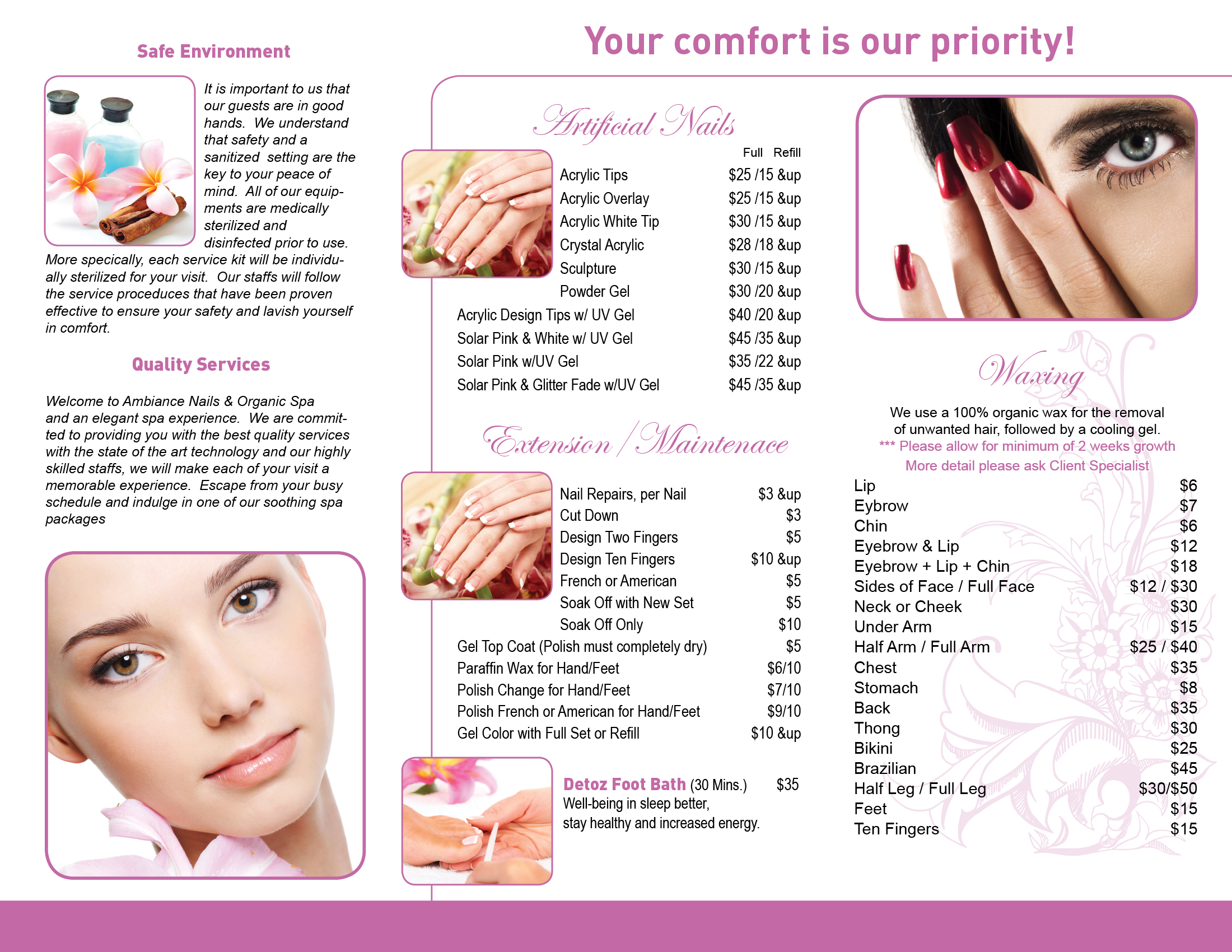 Hair nail spa printing for Nail salon brochure